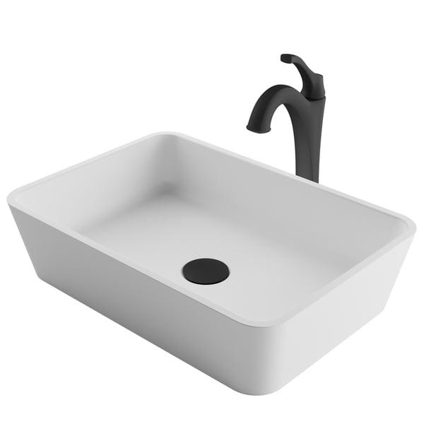 Kraus 3-in-1 Bathroom Set C-KSV-2MW-1200 White Rectangle Composite Vessel Sink, Arlo 1-Hole Faucet, PU Drain, 4 finish