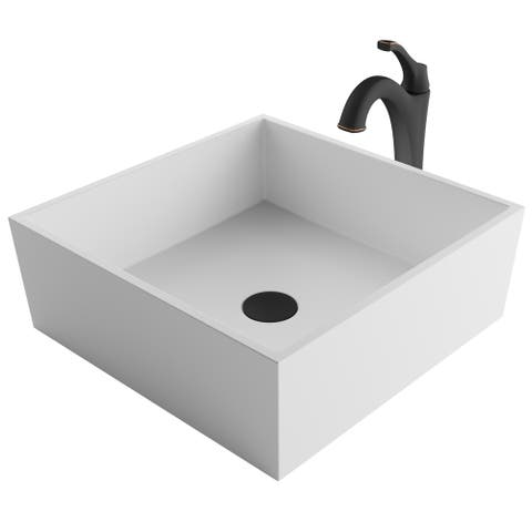Kraus 3-in-1 Bathroom Set C-KSV-5MW-1200 White Square Composite Vessel Sink, Arlo 1-Hole Faucet, Pop Up Drain, 4 finish