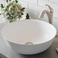 Kraus 3-in-1 Bathroom Set C-KSV-6MW-1200 White Round Composite Vessel Sink, Arlo 1-Hole Faucet, Pop Up Drain, 4 finish