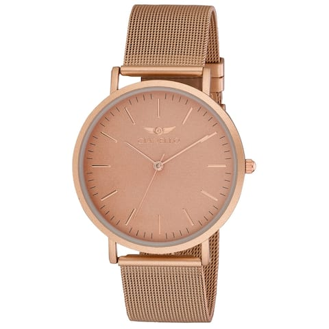 Gianello GNL7722RG Rose Gold Stainless Steel Slim Case Mesh Bracelet Watch