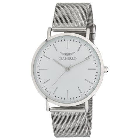 Gianello GNL7722SS Silver Stainless Steel Slim Case Mesh Bracelet Watch - One size