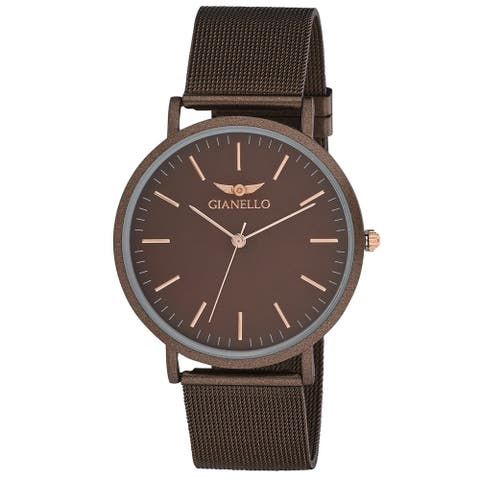 Gianello GNL7722BW Brown Stainless Steel Slim Case Mesh Bracelet Watch