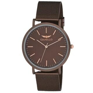 Gianello GNL7722BW Brown Stainless Steel Slim Case Mesh Bracelet Watch - One size