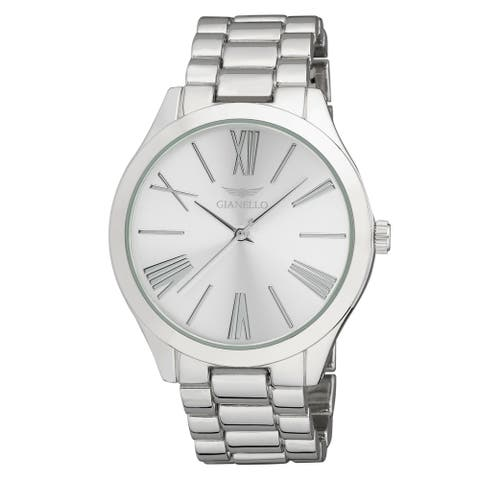 Gianello GNL7715SS Silver Metal Mirror Roman Numeral Dial Watch