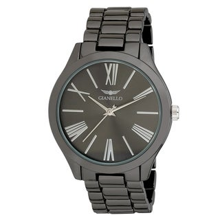 Link to Gianello GNL7715GN Black Metal Mirror Roman Numeral Dial Watch Similar Items in Men's Watches