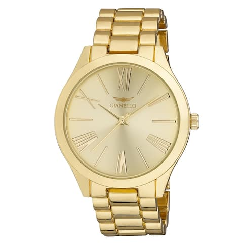 Gianello GNL7715YG Gold Metal Mirror Roman Numeral Dial Watch