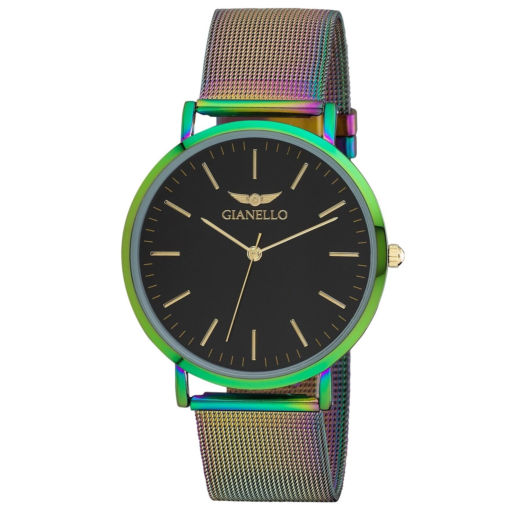Gianello Gnl7722tg Oil Silk Stainless Steel Slim Case Mesh Bracelet Watch One Size
