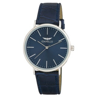 Link to Gianello GNL7714SS Unisex Silver 41mm Case Sleek Brown Leather Strap Watch - One size Similar Items in Men's Watches