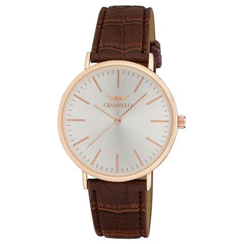 Gianello GNL7714RG Unisex Rose Gold 41mm Case Sleek Brown Leather Strap Watch