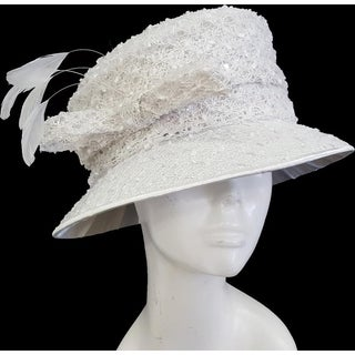 Women's Swan Hat Lace Covered Dress Church Wedding Bridal Hat