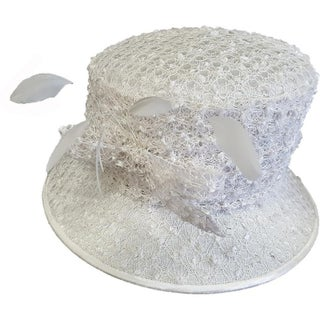 Women's Swan Hat Lace Covered Dress Church Wedding Bridal Hat