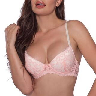 JL Intimates Womens Sexy Lace Floral Pink Everyday Bra
