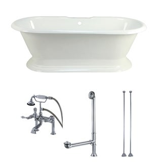 Link to Double-ended Cast Iron 72-inch Pedestal Bathtub with Faucet Combo Similar Items in Bathtubs