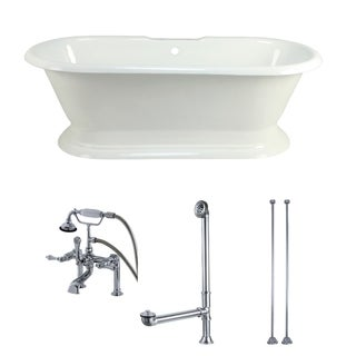 Double-ended Cast Iron 72-inch Pedestal Bathtub with Faucet Combo
