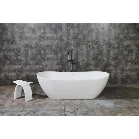 Serena 72-Inch Solid Surface White Stone Freestanding Bathtub - Matte White