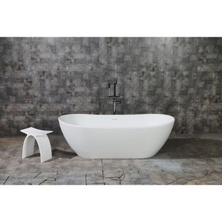Serena 72-Inch Solid Surface White Stone Freestanding Bathtub - Matte White