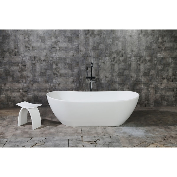 Etonnant Shop Serena 72 Inch Solid Surface White Stone Freestanding Bathtub   Matte  White   Free Shipping Today   Overstock   24216207