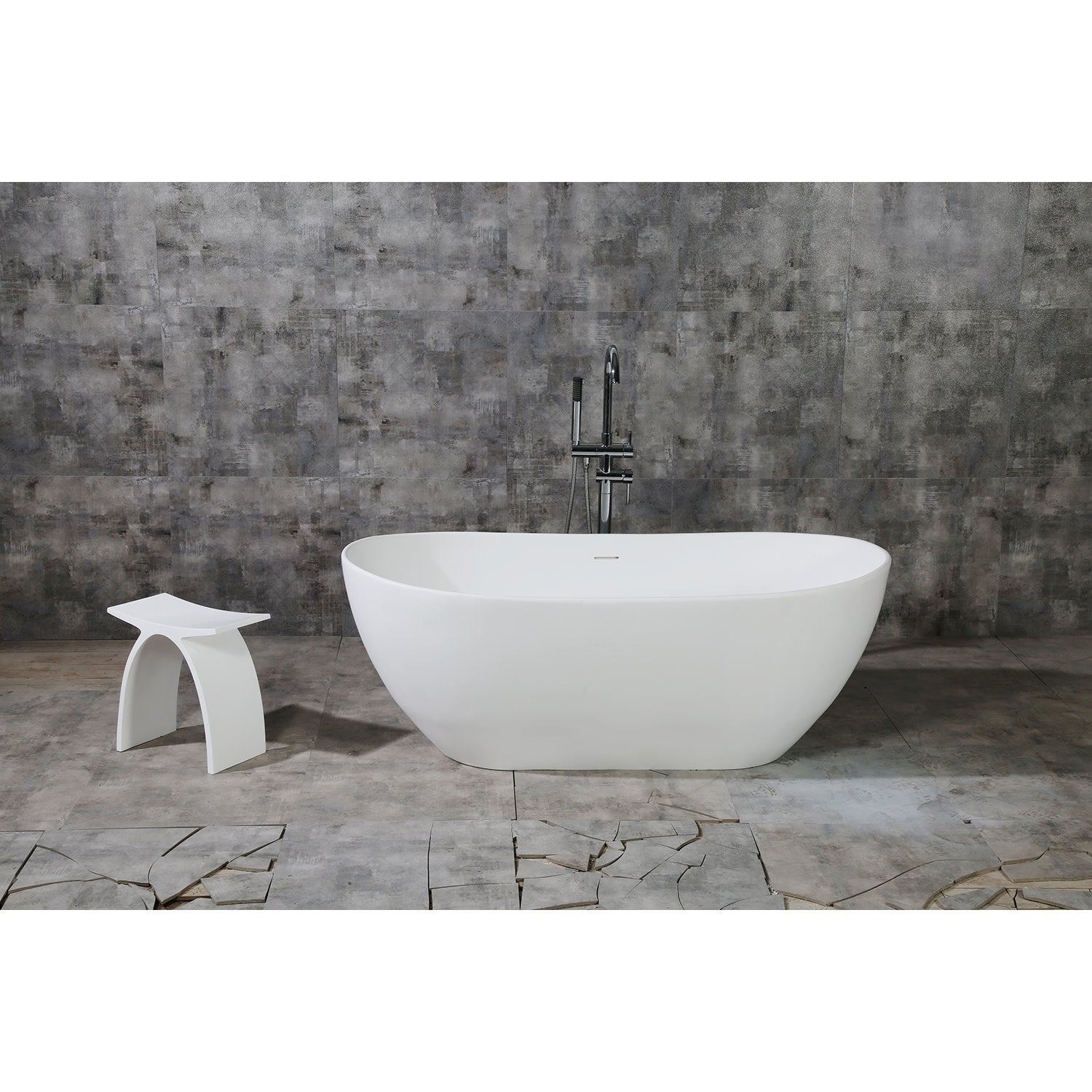 White Stone Freestanding Bathtub