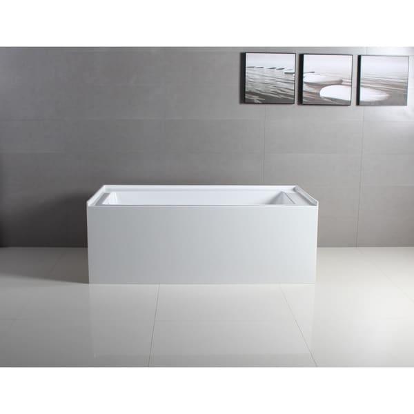 60 x 32 inches Acrylic Deep Soak Alcove Bathtub - White