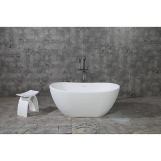 Collett 57-Inch Solid Surface White Stone Freestanding Bathtub - Matte White