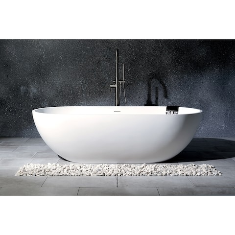 Modern 70-Inch Solid Surface White Stone Freestanding Oval Bathtub - Matte White