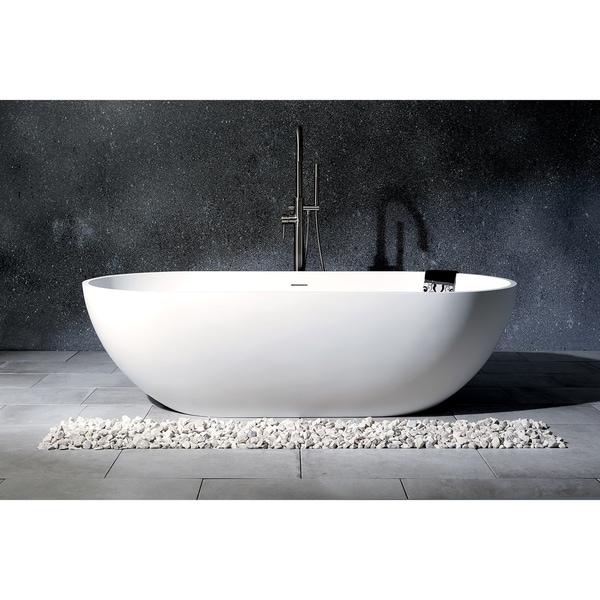Modern 70-Inch Solid Surface White Stone Freestanding Oval Bathtub - Matte White