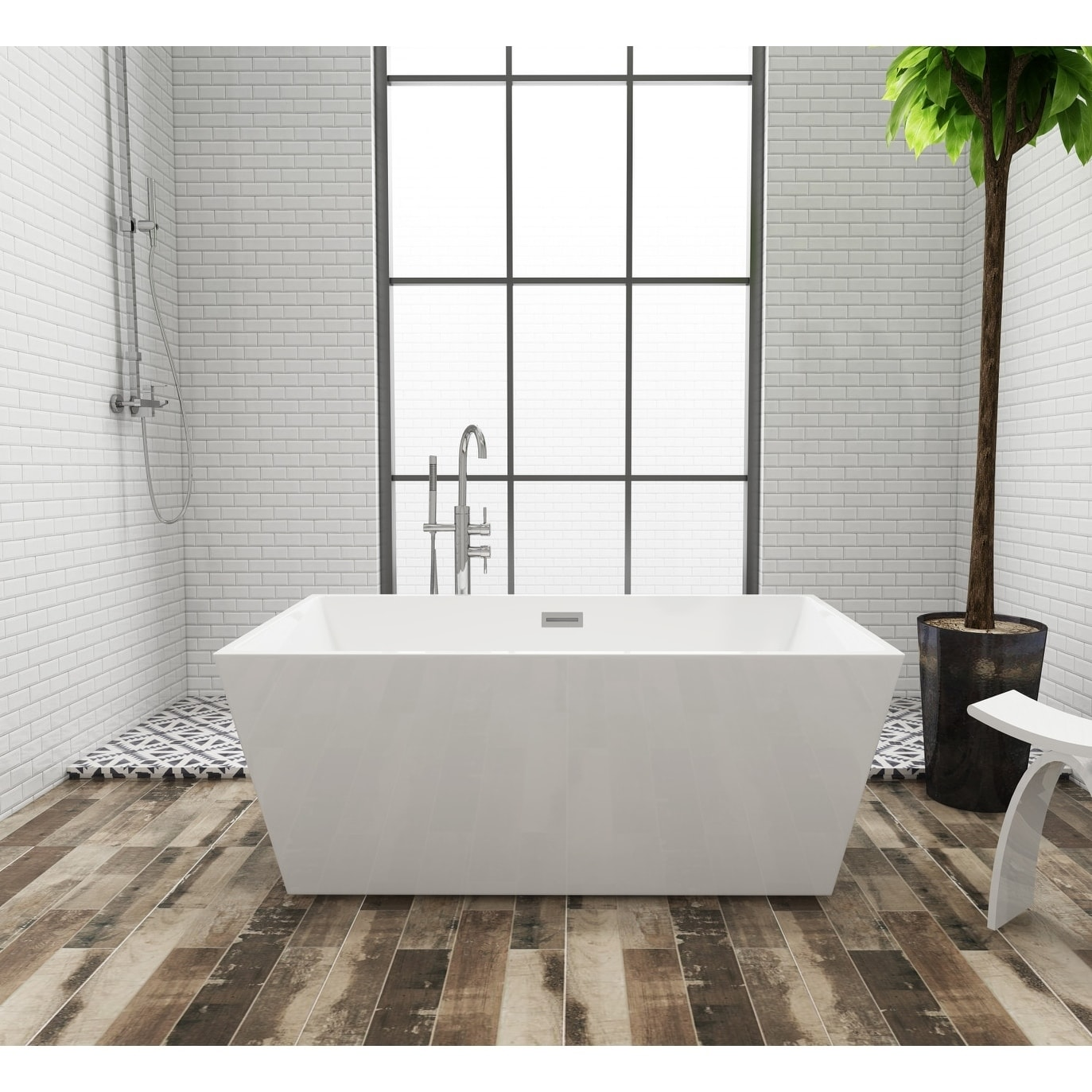 Square 59 X 32 Inch Acrylic Freestanding Bathtub White Overstock 24216227