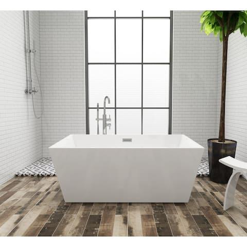 Square 59 x 32 inch Acrylic Freestanding Bathtub - White
