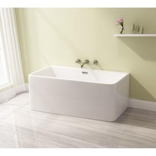 Square 59 x 28 inch Acrylic Freestanding Bathtub - White