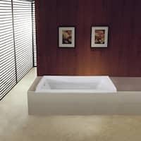 60 x 32 inches Drop-in Acrylic Bathtub - Left - White