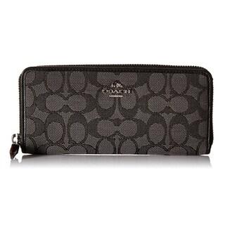 Coach Signature Slim Accordion Silver/Black Zip Checkbook Wallet