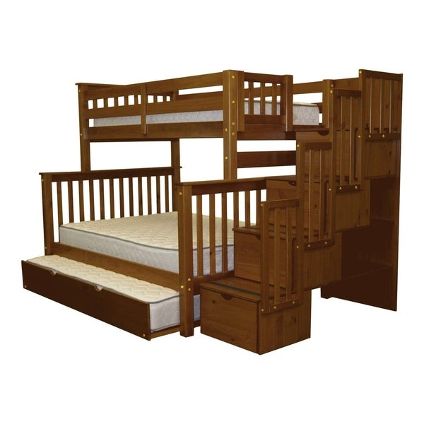 Bedz King Espresso Stairway Bunk Beds Twin-over-Full and a Full Trundle