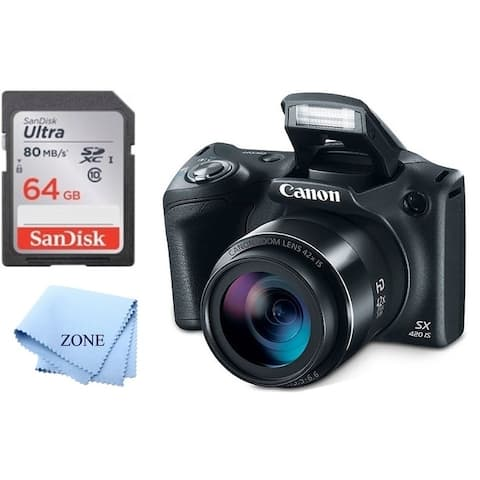 Canon PowerShot SX420 Digital Camera w/42x Optical Zoom - Wi-Fi & NFC Enabled + 64GB SD Memory Card