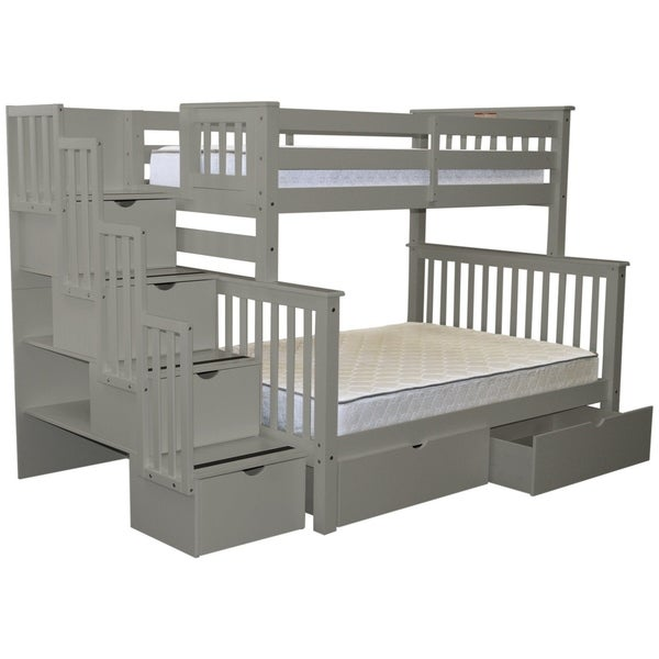 Bedz King Grey Wood Stairway Twin over Full with 4 Drawers in the Steps and 2 Under Bed Drawers Bunk Bed
