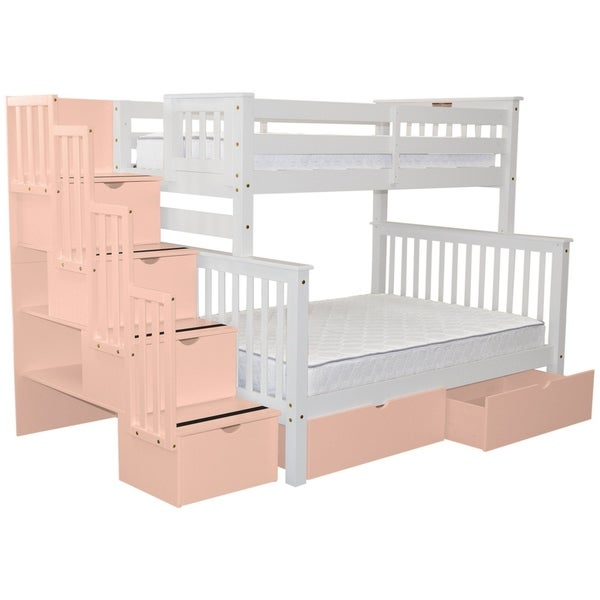 shop bedz king white wood stairway twin over full with 4 pink drawers in the steps and 2 pink. Black Bedroom Furniture Sets. Home Design Ideas