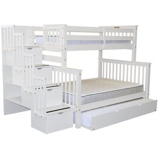 Bedz King White Brazilian Pine Wood Stairway Twin Over Full Bunk Beds with 4 Drawers in the Steps and a Twin Trundle