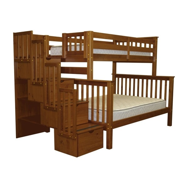 Bedz King Brown Pine 4-drawer Twin Over Full Bunk Bed with Stairway