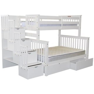Bedz King Stairway Bunk Beds White Wood Twin-over-full with 4 Drawers in the Steps and 2 Under Bed Drawers Bunk Bed
