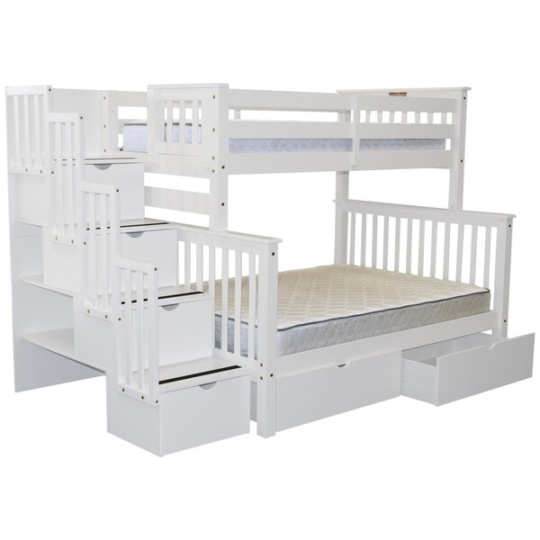 shop bedz king stairway bunk beds white wood twin over full with 4 drawers in the steps and 2. Black Bedroom Furniture Sets. Home Design Ideas