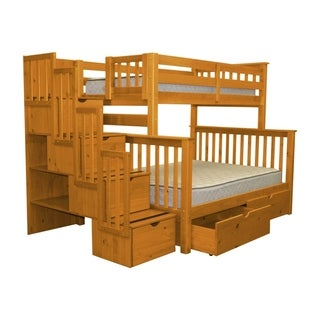 Bedz King Honey Brazilian Pine Stairway Twin Over Full Bunk Beds with 4 Drawers in the Steps and 2 Under Bed Drawers