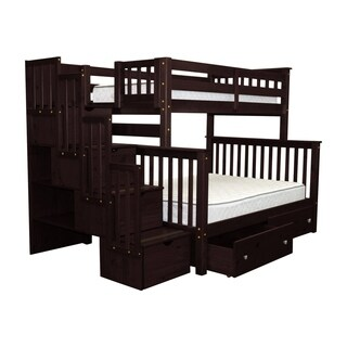 Bedz King Cappuccino Stairway Twin-over-Full Bunk Beds