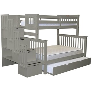 Bedz King Grey Brazilian Pine Stairway Twin Over Full Bunk Beds with 4 Drawers in the Steps and a Twin Trundle