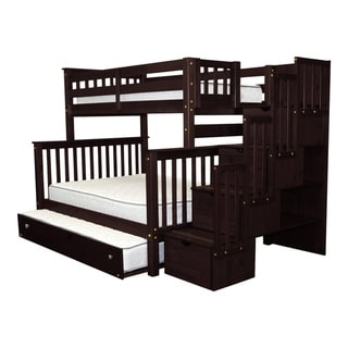 Bedz King Capuccino Wood Stairway Twin over Full with 4 Drawers in the Steps and a Full Trundle Bunk Bed