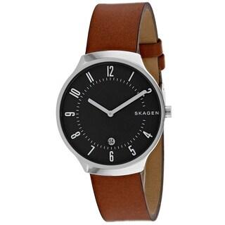 Skagen Men's SKW6457 Grenen Slim Blue Dial Brown Leather Watch