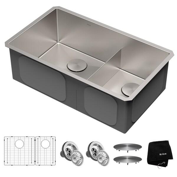 Kraus KHU103-32 Undermount 32-in 16G 60/40 2-Bowl Stainless Steel Kitchen Sink, Grids, Strainers, Caps, Mitt, Trivet
