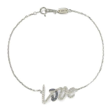 Suzy L. Sterling Silver Sapphire and Diamond Accent Love Bracelet - Blue
