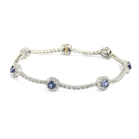 Suzy Levian Sterling Silver Sapphire and Diamond Accent Flower Tennis Bracelet - Blue