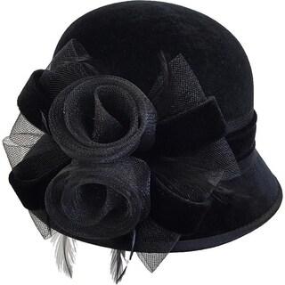 Swan Hat Women's Velvet Covered Dress Church Wedding Bridal Hat