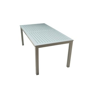 Courtyard Casual Skyline Grey/White Aluminum Outdoor Rectangle Dining Table