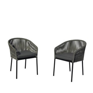 Courtyard Casual Osborne Black Aluminum Outdoor Dining Chairs with Cushions (Set of 2)
